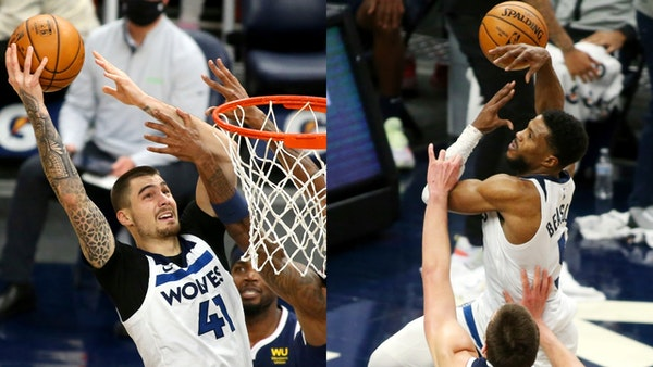 Former Nuggets Juancho Hernangomez, left, and Malik Beasley are hoping to make their mark with the Wolves.