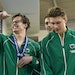 Keegan Duffy, left, was part of a relay team championship for Edina at the 2019 boys' swimming state meet, and is trying to build his strength for a
