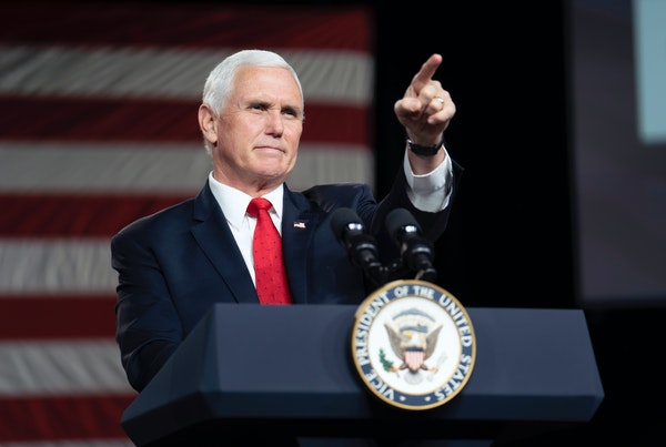 Vice President Mike Pence speaks during a campaign event for incumbent Republican Senators Kelly Loeffler and David Perdue at Rock Springs Church in M