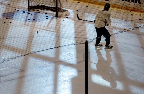 Zach Parise put in some extra work during the Wild's first practice of the season Monday at Tria Rink.