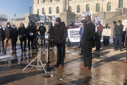 Bayle Adod Gelle, Dolal Idd's father, spoke at the Minnesota State Capitol on Tuesday calling on legislators to address police reform this session.