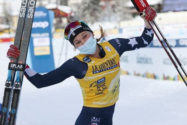 Afton's Jessie Diggins celebrated after winning a Tour de Ski women's 10-kilometer freestyle cross-country race in Toblach, Italy, on Tuesday.