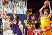 Gophers transfer Liam Robbins, right, has taken his place among the Big Ten's best big men this season. Michigan's Hunter Dickinson, left, is anot