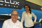 Howard Root, shown with Annette Flores of Elux Marine, said electric boats can redefine the pontoon experience.
