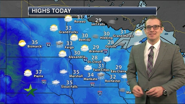 Afternoon forecast: 31, mostly cloudy, chance of freezing fog tonight