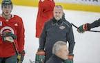 Coach Dean Evason ran the Wild through practice on Monday at Tria Rink.