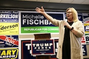 U.S. Rep. Michelle Fischbach campaigning in Olivia last October. Fischbach and fellow GOP Rep. Jim Hagedorn sided with Republicans who voted to block