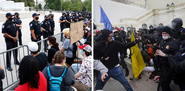 In this combination of photos, on June 3, 2020, demonstrators, left, protest the death of George Floyd at the U.S. Capitol in Washington and Trump sup