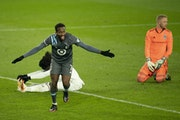 Kevin Molino of the Loons celebrated after scoring on Colorado Rapids on Nov. 22.