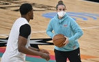 San Antonio Spurs assistant coach Becky Hammon runs drills with forward Rudy Gay before the team's game against the Lakers on Jan. 1.