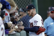 Twins third baseman Josh Donaldson signed autographs last season before baseball's spring training was cut off by the pandemic.