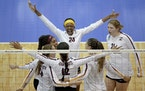 The Gophers celebrated a point during the NCAA volleyball quarterfinals against Louisville last season.