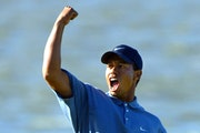 Tiger Woods at the PGA Championship at Hazeltine in 2002.