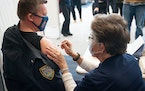 Chief Tim Hoyt of New Hope P.D. received his COVID-19 Moderna vaccine from RN Gloria Christensen on Friday.