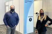 Co-founders Don Gonse and Megan Diamond of nParallel switched to building dividers, shields and kiosks to keep workers, customers and students safe.