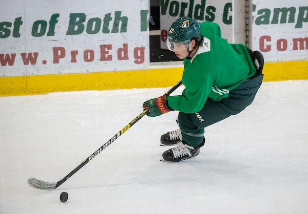 Wild forward Kevin Fiala took to the ice for the first day of camp at Tria Rink on Monday in St. Paul