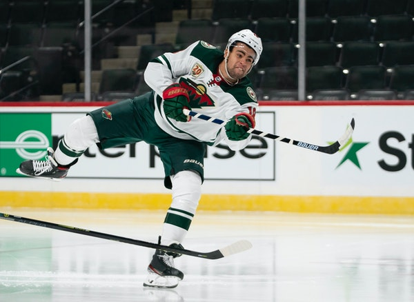 The Wild's Jordan Greenway took a shot attempt during a scrimmage at Xcel Energy Center on Friday.