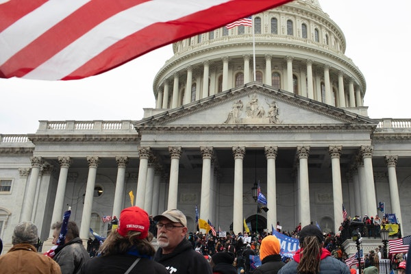 Protesters outside the Capitol in Washington on Wednesday, Jan 6, 2021, after protesters breached security and entered the building.