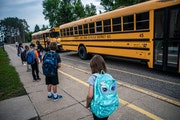 Children arrived for classes at Forest View Elementary last year.