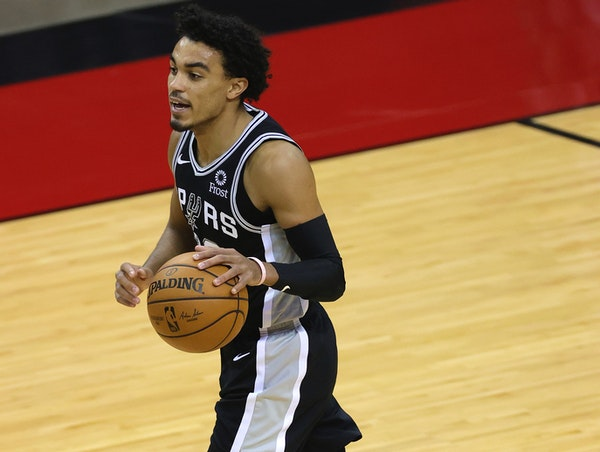 Spurs guard Tre Jones on Dec. 17. The rookie from Apple Valley has seen little playing time so far, getting into three games this season.