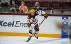 Taylor Heise (2019 photo) scored 33 seconds into the game and finished with a hat trick, and the Gophers women's hockey team beat St. Cloud State 4-