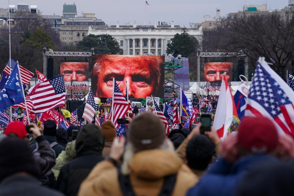 In this Jan. 6, 2021, file photo,Trumpsupportersparticipate in a rally in Washington. Far-right social media users for weeks openly hinted in wi