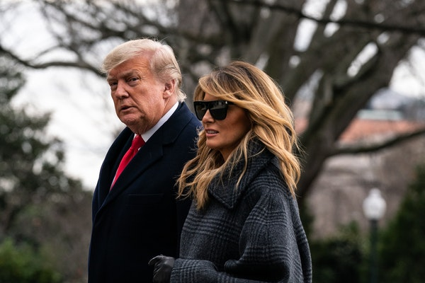 President Donald Trump and first lady Melania Trump arrive at the White House in Washington on Dec. 31, 2020, after a trip to Florida.