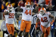 Nyles Pinckney (44) celebrated during last season's national championship game for Clemson.