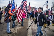 Protesters attended a rally on Wednesday, Jan. 6, at the State Capitol in St. Paul in support of GOP efforts to overturn the presidential election.