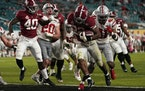 Alabama running back Najee Harris scored a touchdown against Ohio State during the second half of the College Football Playoff national championship g