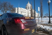 The Minnesota State Patrol and Capitol Security forces were keeping a watchful eye around the State Capitol Tuesday afternoon.     ] GLEN STUBBE • g