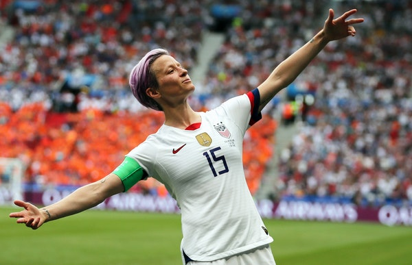 Megan Rapinoe, shown celebrating a goal in the Women's World Cup final against the Netherlands in July of 2019, has returned to the U.S. national te