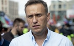 Russian opposition leader Alexei Navalny attends a 2019 protest in Moscow.