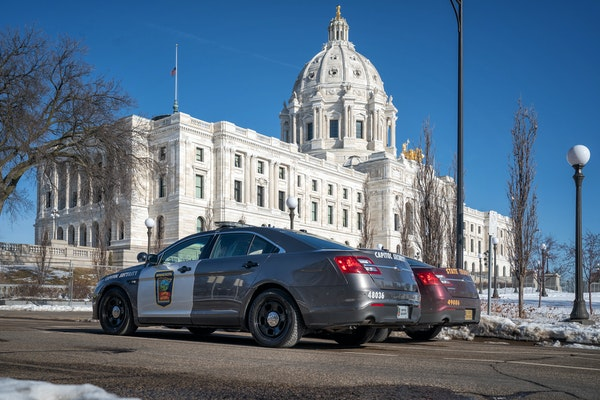 The Minnesota State Patrol and Capitol Security forces were keeping a watchful eye around the State Capitol on Tuesday afternoon.