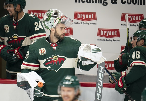 Wild goalie Cam Talbot chatted with teammates during a scrimmage Friday at Xcel Energy Center.