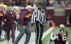 Gophers offensive line coach Brian Callahan, seen here expressing himself to a referee during a 2018 contest, gained two new players for his position