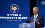 President-elect Joe Biden speaks at the Queen Theater in Wilmington, Del., on Thursday, Jan. 14, 2021. Biden proposed a $1.9 trillion rescue package t