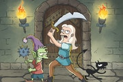 "Elfo (voice of Nat Faxon), Bean (Abbi Jacobson) and Luci (Eric Andre) in ""Disenchantment."""