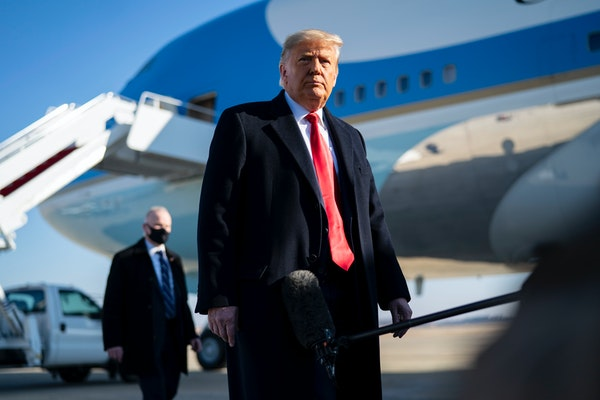 President Donald Trump made remarks before boarding Air Force One on Tuesday, Jan. 12, 2021. President Trump became the first president to be impeache