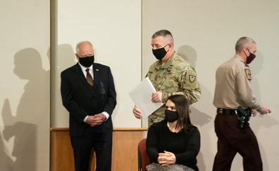 Gov. Tim Walz, Minnesota National Guard Brigadier Gen. Shawn Manke, Lt. Gov. Peggy Flanagan and Minnesota State Patrol chief Col. Matt Langer provided