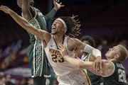 Forward Brandon Johnson (23) helped the Gophers foil Michigan State on Dec. 28.