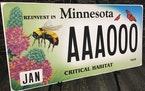The state's new habitat vehicle license plate.