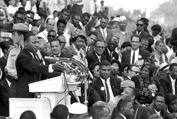 """The Rev. Martin Luther King Jr., during his """"I Have a Dream"""" speech in front of the Lincoln Memorial on Aug. 28, 1968."""