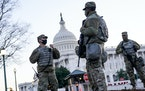 National Guard troops outside the U.S. Capitol on Jan. 13, the day the House impeached the president.