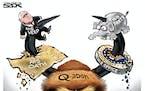 Sack cartoon: Horned, foul