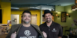 Chris Brooks, left, and Paul Campbell, co-founders and general partners of Brown Venture Group met in Golden Thyme Coffee in St. Paul.         ] GLEN