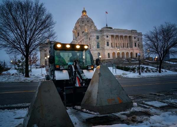 Concrete barriers are in place around the Minnesota Capitol, and more than 100 Minnesota National Guard military police will stand watch this weekend,