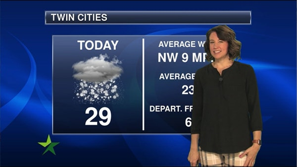 Morning forecast: 29, slight chance of flurries later today