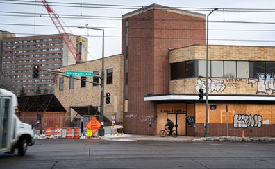 The former U.S. Bank building on University and Raymond avenues in St. Paul is slated for demolition to make way for a $50 million apartment project.