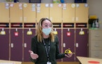 Oxbow Creek Elementary school nurse Erika Bethke measured classrooms to calculate social distancing safety requirements.